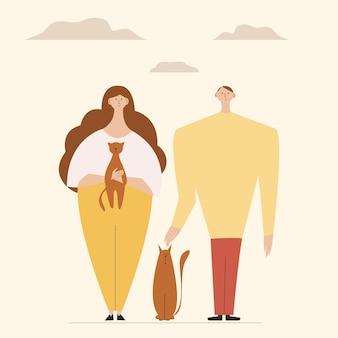 Feliz pareja sonriente joven hombre y mujer rodeados de adorables mascotas lindas. ilustración de vector colorido en estilo de dibujos animados plana.