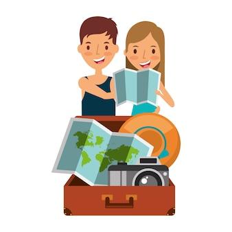 Feliz pareja viajeros turísticos con maleta abrir sombrero cámara y mapa