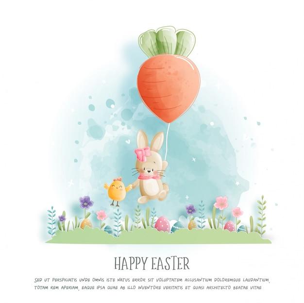 Feliz pascua con conejito lindo y huevos de ester en papel cortado estilo ilustración.