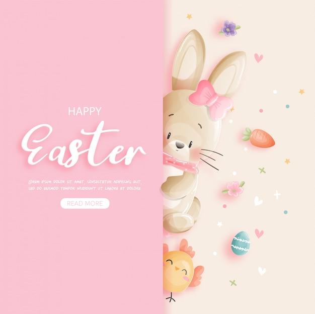 Feliz pascua con conejito lindo y huevos de pascua en papel cortado estilo ilustración.