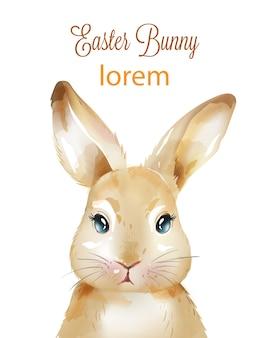 Feliz pascua conejo de acuarela con orejas arriba
