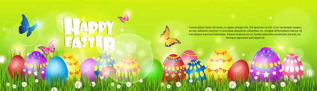 Feliz pascua decorada tarjeta de felicitación colorida
