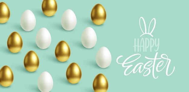 Feliz pascua festiva fondo azul con huevos de pascua dorados y blancos