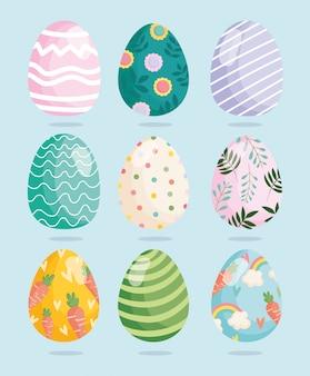 Feliz pascua huevos decorativos ornamento celebración festiva