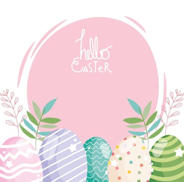 Feliz pascua huevos decorativos ornamento temporada ilustración