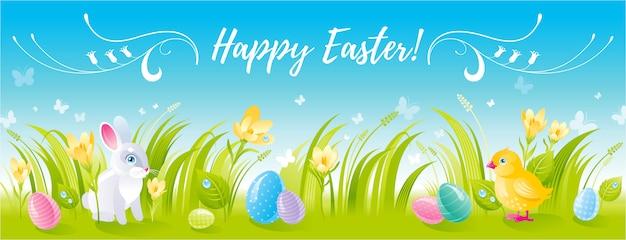 Feliz pascua huevos de dibujos animados, lindo conejito y pollo.