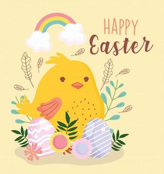 Feliz pascua huevos de gallina y flores decoración arcoiris