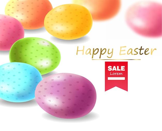 Feliz pascua, huevos realistas, banner de huevos coloreados