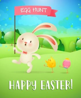 Feliz pascua, letras de caza de huevos, conejito, pollito, huevo, paisaje