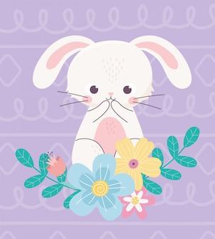 Feliz pascua lindo conejo flores hojas naturaleza decoración