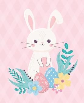 Feliz pascua lindo conejo y huevo flores follaje dibujos animados