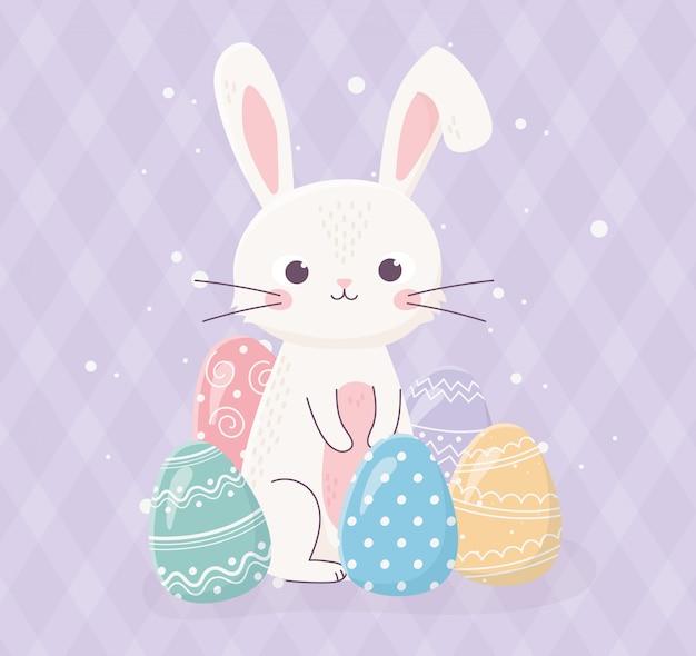 Feliz pascua lindo conejo con huevos decorativos celebración