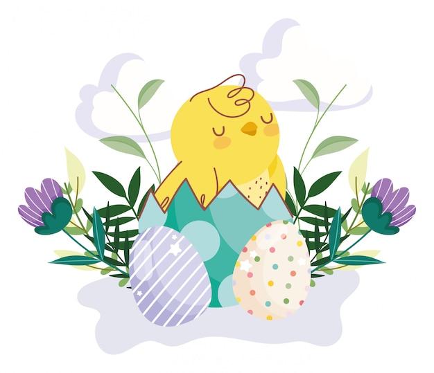 Feliz pascua lindo pollo en cáscara de huevo huevos flores hojas decoración