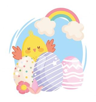 Feliz pascua lindo pollo decorativo huevos flores arcoiris ilustración