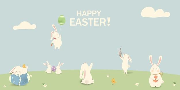 Feliz pascua de resurrección conejito de pascua con huevos hierba flores en el campo