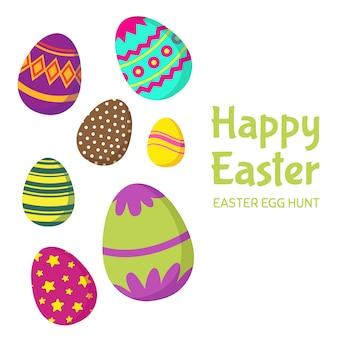 Feliz pascua, tarjeta de felicitación de vector de caza de huevos de pascua