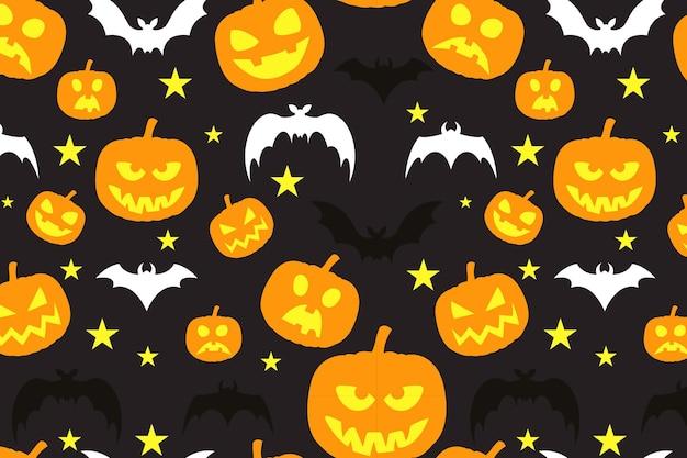 Feliz patrón de halloween con calabazas y estrellas de murciélagos