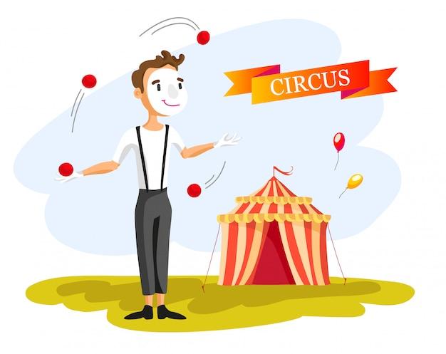 Feliz payaso de circo. ilustración de dibujos animados hombre haciendo malabares con pelotas. espectáculo de circo. estilo vintage.