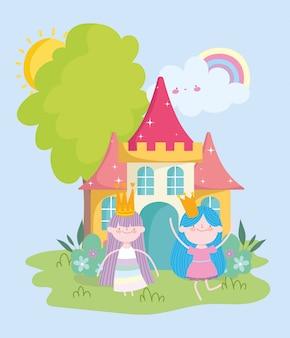 Feliz pequeña princesa de hadas con coronas y dibujos animados de cuento de castillo