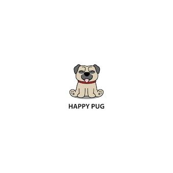 Feliz perro pug sentado icono de dibujos animados