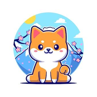 Feliz perro shiba inu en la ilustración de icono de vector de dibujos animados de japón. concepto de icono de naturaleza animal aislado vector premium. estilo de dibujos animados plana