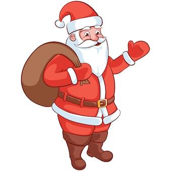 Feliz personaje de dibujos animados de santa claus. ilustración de vector de navidad