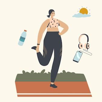 Feliz personaje femenino correr por la mañana. mujer atlética en ropa deportiva corriendo en verano en el parque