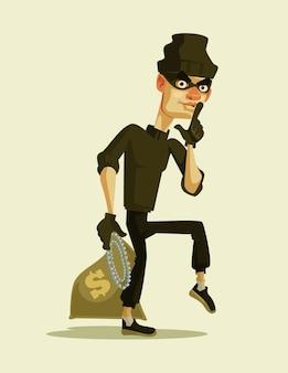 Feliz personaje ladrón sonriente llevando ilustración de bolsa de dinero robada