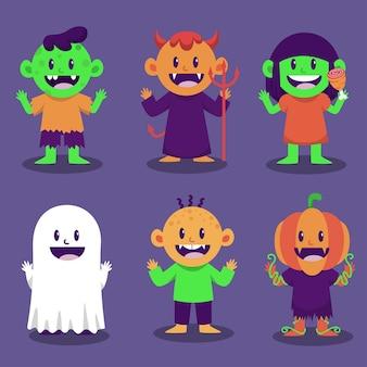Feliz personaje de monstruo de halloween para novela e historia.