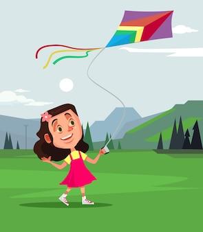 Feliz personaje de niña sonriente jugando volar cometa. dibujos animados de concepto de tiempo de primavera de verano