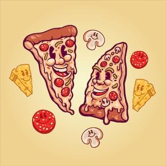 Feliz pizza ilustración