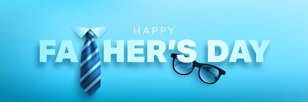 Feliz plantilla del banner del día del padre con corbata y gafas. saludos y regalos para el día del padre.