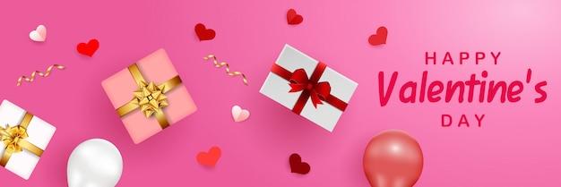Feliz plantilla de banner de san valentín
