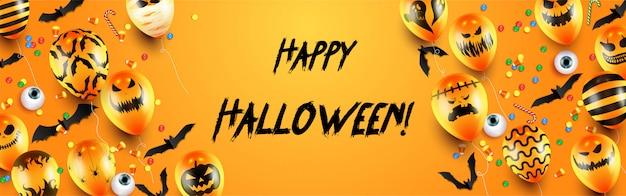Feliz plantilla de banner de truco o trato de halloween con globos de miedo y elementos de halloween