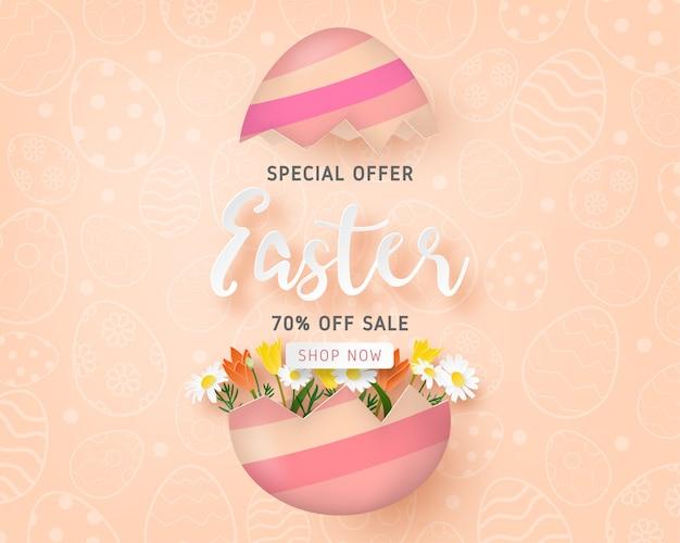 Feliz plantilla de banner de venta de pascua con huevo de pascua y flor