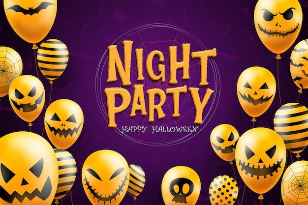 Feliz plantilla de fondo de halloween en la oscuridad con iconos de globos de cara de diablo