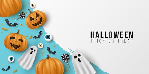 Feliz plantilla de halloween. 3d emocional, caricatura, calabazas sonrientes con ojos, dulces, piruletas, murciélagos voladores, fantasma sobre fondo azul. cubierta de invitación a fiesta. vector
