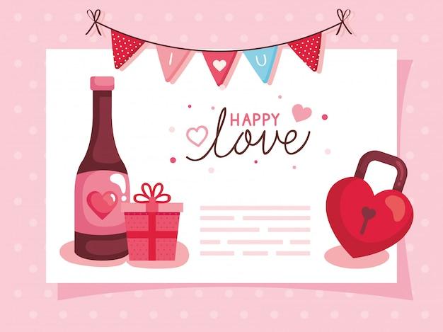 Feliz plantilla de tarjeta del día de san valentín con botella de vino y decoración