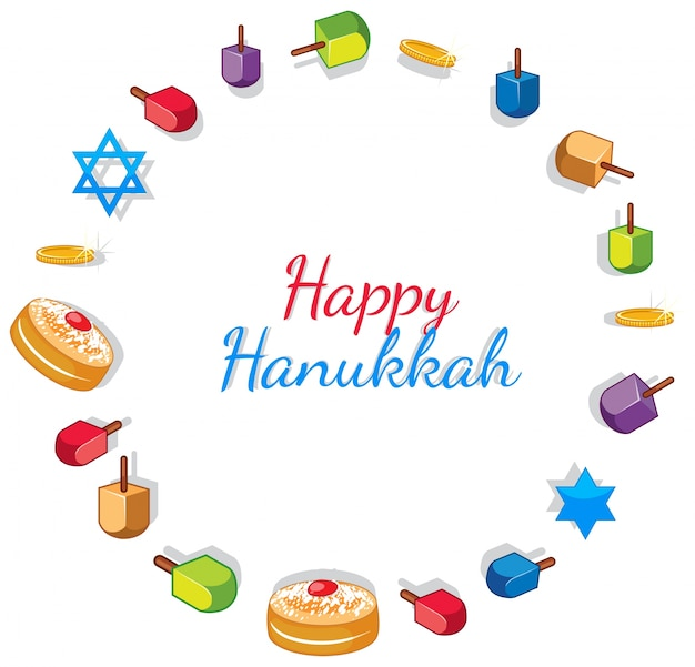 Feliz plantilla de tarjeta de hanukkah con juguetes y donas