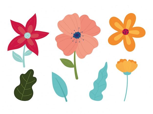 Feliz primavera flores pétalos hojas iconos de decoración de follaje
