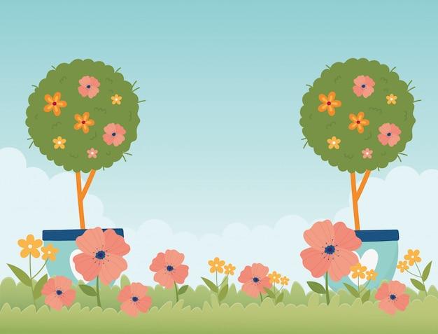 Feliz primavera jardín en maceta árboles flores hierba naturaleza
