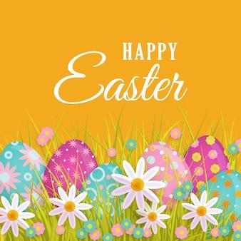 Feliz primavera de pascua tarjeta de felicitación con huevos, flores