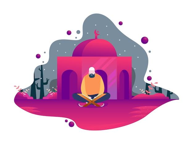 Feliz ramadán mubarak con carácter de personas.