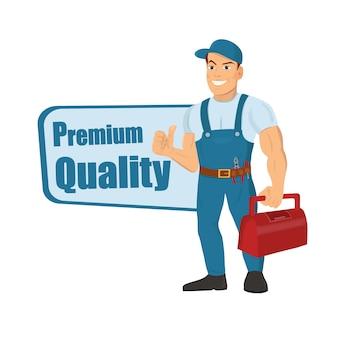 Feliz reparador de dibujos animados o trabajador de la construcción palabras de calidad premium.