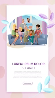 Feliz reunión familiar de dibujos animados vector web banner