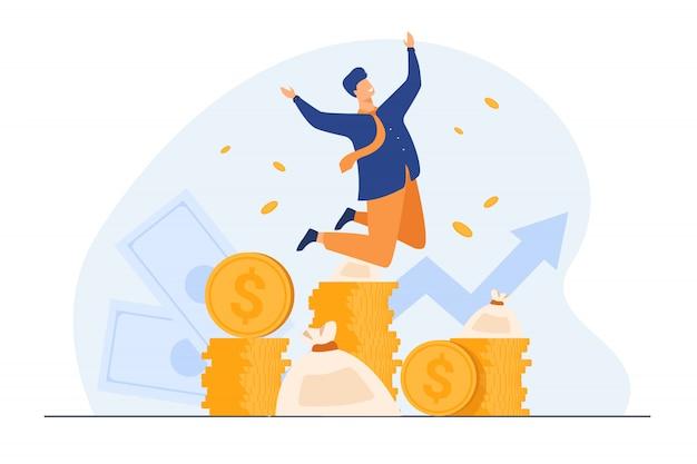 Feliz rico banquero celebrando el crecimiento de los ingresos