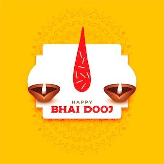 Feliz saludo de bhai dooj con fondo tilak y diya