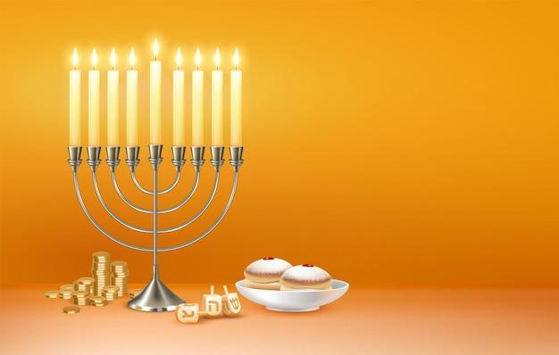 Feliz saludo de celebración del festival judío de hanukkah con menora candelabro luces ilustración de estrella de david de seis puntas