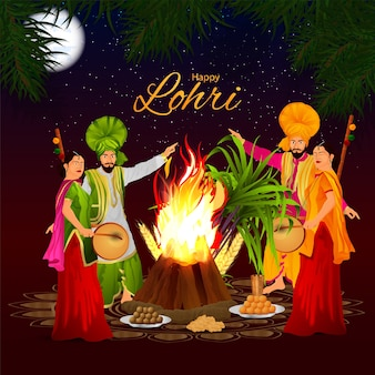 Feliz saludo de celebración de lohri, festival indio punjabi e ilustración creativa