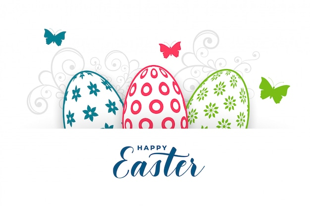 Feliz saludo fectival de pascua con huevos y mariposas
